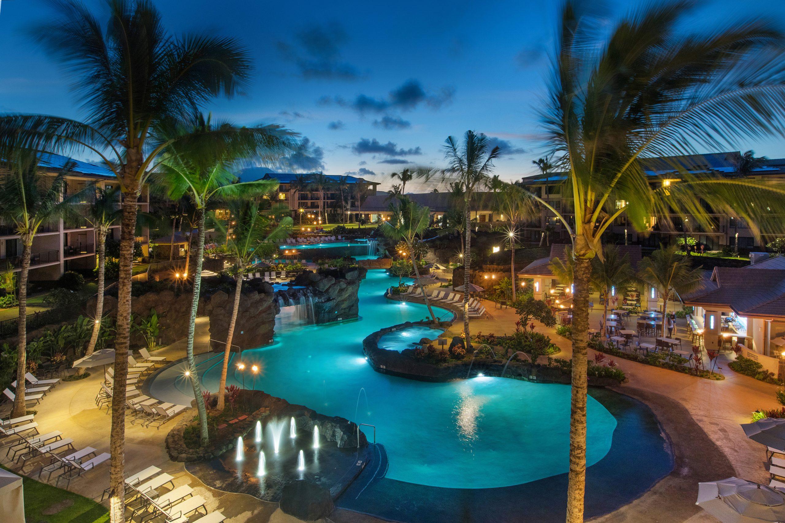 Koloa Landing Resort Pool at dusk
