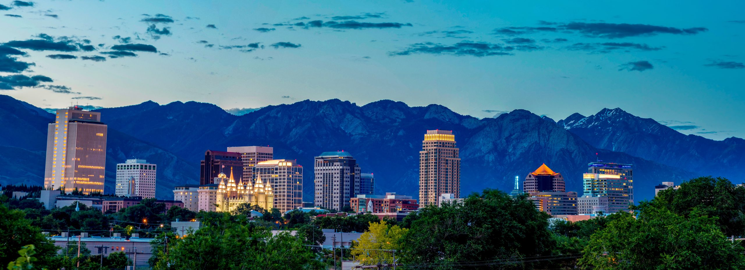 Salt Lake City Skyline with Mountains in distance