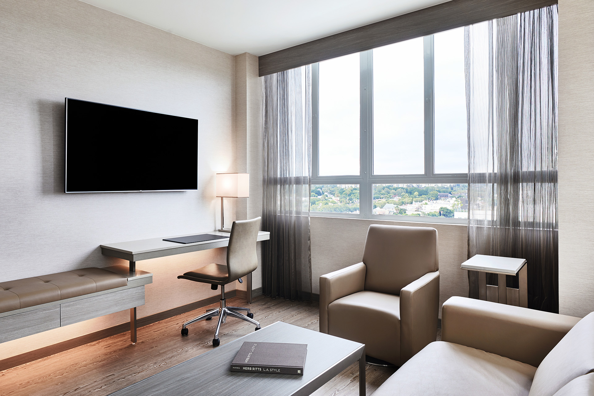 AC Hotel by Marriott Beverly Hills One Bedroom Suite living area